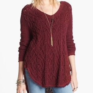 Free People Red Raw Hem Cable Knit Red Sweater